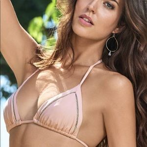 PilyQ Mesh Tri Bikini Top in Rose Pink Mesh Detail